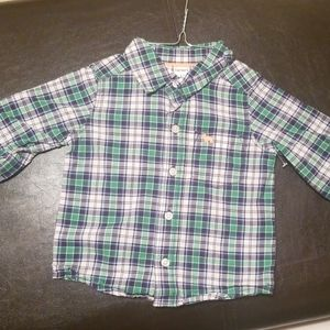 Carters button down shirt green plaid